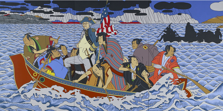 The painting Shimomura Crossing the Delaware takes as its source Emanuel Leutze's 1851 painting Washington Crossing the Delaware, which is in the collection of the Metropolitan Museum of Art in New York City. Shimomura presents himself in the guise of America's Founding Father; he replaces George Washington's colonial troops with samurai warriors; and he remakes the body of water they cross to resemble San Francisco Harbor with Angel Island (the processing center for Asian immigrants) in the background.